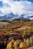 The Sneffels Mountain Range in early Autumn viewed from the the Dallas Divide, Colorado. Looking south from the Dallas Divide view point at the Mount Sneffels royalty free stock photography