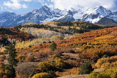 Viewed from the Dallas Divide is the Mount Sneffels Range within the Uncompahgre National Forest, Colorado. royalty free stock photography