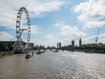 Looking south on London's Thames River toward London Eye Stock Photo