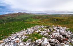 Upland scenery on the island of Islay, Scotland. Looking south from the rocky Am Tamhanachd peak towards upland grazing fields on the island of Islay, Scotland royalty free stock images