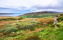 Rural scenery on the island of Islay, Scotland. Looking south from Am Tamhanachd peak towards upland grazing fields and the ocean on the island of Islay stock image