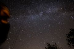 Looking at starry night sky, stars panorama royalty free stock images