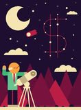 Looking at the stars for Guidance. Manager uses a telescope to look at a constellation shaped like a money symbol Royalty Free Stock Images