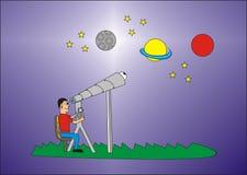 Looking at the stars. A man looking at the stars at night Royalty Free Stock Images
