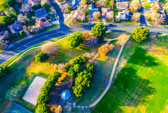 Looking straight down Over Park and Trails in Suburb Community royalty free stock images