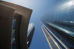 Looking straight up at the Etihad Towers stock photography