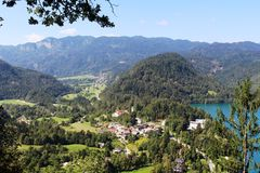 Looking from Straza towards the south end of Lake Bled, Slovenia Royalty Free Stock Photo