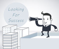 Looking for success. Businessman looking for success on the building Royalty Free Stock Photography