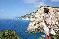 Looking For The Summer. Beautiful View in Porto Katsiki, Lefkada Island - Greece royalty free stock image