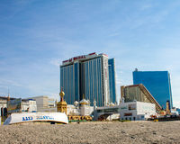 Looking at Taj Mahal from the Beach in Atlantic City. Stock Photos