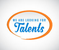 `We are looking for Talents` calligraphic text Royalty Free Stock Photos