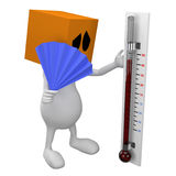 Looking in thermometer. 3d little cute people with cube orange head, looking in thermometer, isolated on white Stock Photography