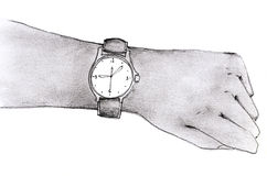 Looking for time. A pencil sketch of hand wearing a watch Vector Illustration