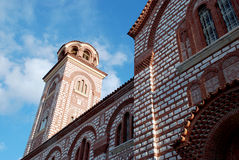 Looking to the bell tower of a church in Greece Stock Photos
