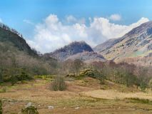 Looking to Castle Crag, Borrowdale Stock Images