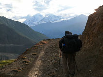 Looking to Dhaulagiri from Muktinath valley, Nepal stock photo