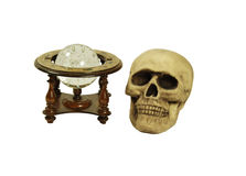 Looking to future. Old world stand with zodiac symbols holding a crystal ball for seeing into the future with miniature bubbles inside with a skull with eye Stock Images