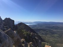 Looking to Gibraltar from the Sierra Crestillina Summit. Taken in Casares in Andalusia Spain on top of the Sierra Crestillina mountain towards Gibraltar and Stock Photography