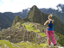 Looking to the Machu Picchu royalty free stock photo