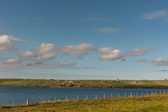 Looking to mainland from Italian Chapel site, Orkneys, Scotland. Stock Images