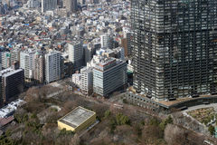 Looking to the modern district of Tokyo, Japan Stock Photos