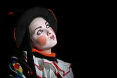 Looking to the moon. Triste girl with clown makeup Royalty Free Stock Images