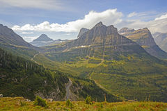 Looking to a Mountain Pass From an Alpine trail stock images