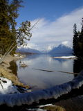 Looking to the Mountains. This picture shows Lake McDonald in Glacier National Park near the lake's outlet Royalty Free Stock Photography