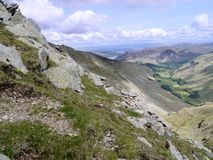 Looking to Ullswater from Nethermost Pike east ridge Royalty Free Stock Photography
