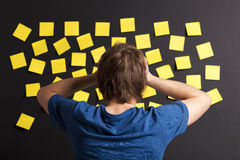 Looking to yellow reminders Stock Photos