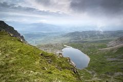 Looking from top of Cadair Idris mountain in Snowdonia National Royalty Free Stock Photography