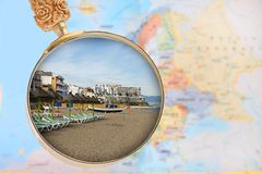 Looking in on Torremolinos, Spain. Looking in on Torremolinos Spain with European map in the background Royalty Free Stock Photos