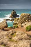Looking toward the Armed Knight rock formation. Land`s End, Cornwall.  Stock Image