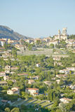 Looking toward La Turbie, with remains of Trophee des Alpes dating  from 10th century, France Stock Images