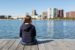 Looking Toward the River. A girl looking toward the Charles River in Boston Royalty Free Stock Photos