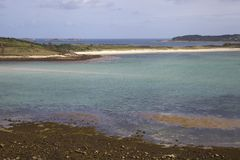 Looking towards Appletree Bay from Bryher, Isles of Scilly, England.  Royalty Free Stock Photos