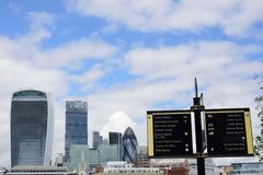 Looking towards Canary Wharf with sign in foreground Royalty Free Stock Photos