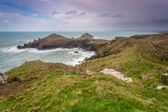Looking towards port quin from the rumps in cornwall uk Stock Image