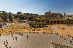 Looking towards the Roman Forum and Temple of Venus and Rome Stock Images