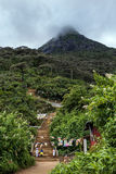 Looking towards the summit of Adam's Peak (Sri Pada) in Sri Lanka. Stock Photos