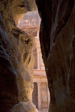 Looking towards the Treasury (Al Khaznah) from the Siq, Petra, Jordan. Stock Images