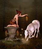 Looking for a treasure. Fantasy illustration royalty free illustration