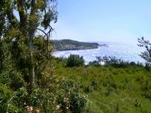 Looking by trees to Ag Stefanos, Corfu. Looking to west side of Ag. Stefanos from hilltop Stock Images