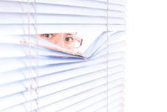 Looking trough blinds Stock Image