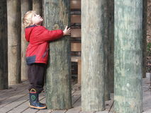 Looking Up. A little boy hugging wooden post Royalty Free Stock Image