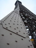 Looking Up. A different perspective of the Eiffel Tower Stock Photo
