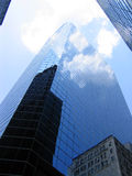 Looking Up 2. Stood at the bottom of a glass skyscraper in downtown Manhattan, New York. Looking up royalty free stock photography
