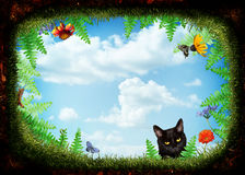 Cat looking into a hole. Perspective of looking out of a hole surrounded by ferns flowers,grass and insects. A cat peers into the hole stock illustration