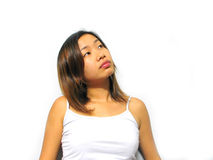 Looking Up. Asian girl looking up Royalty Free Stock Photo