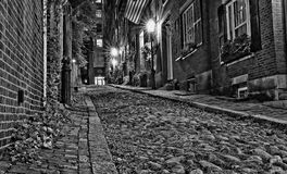 Looking up Acorn Street At Night In Boston Royalty Free Stock Image
